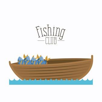 Boot met emmer vol met vis