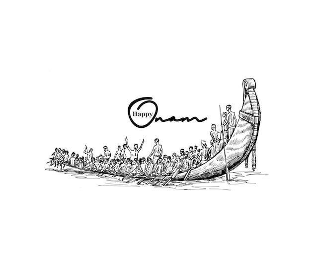 Boot op rivier op decoratieve achtergrond voor zuid-indiase festival onam, hand getrokken schets vectorillustratie.