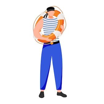 Bootsman platte illustratie. maritieme bezetting. zeevarende in werkuniform. matroos met reddingsboei geïsoleerd stripfiguur op witte achtergrond