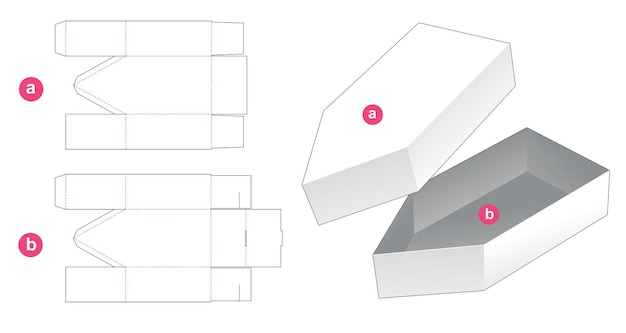 Bootvormige doos met deksel gestanst sjabloon
