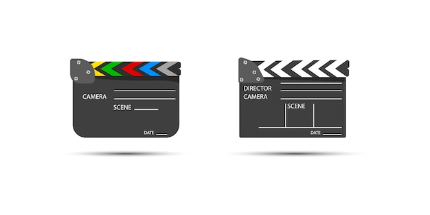 Bord klappen voor het starten van een videoclip. licht, camera, actie! filmset filmklapper voor bioscoopproductie. dakspaan die film met tekst maakt.