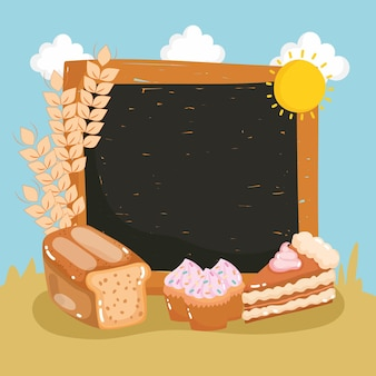 Bord met brood en gebak
