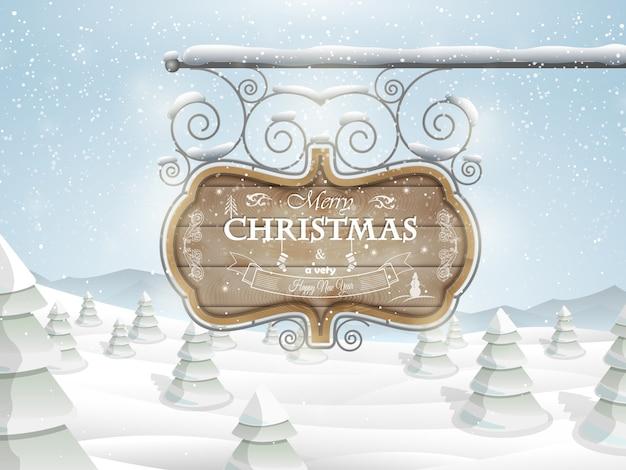 Bord met kerstmis die vectorillustratie begroet.