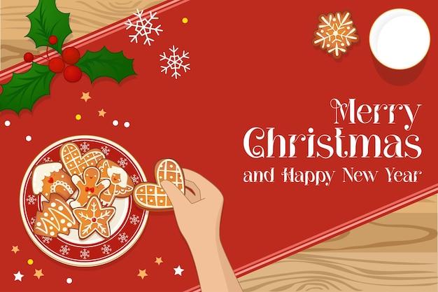 Bord met peperkoek kerstkoekjes en hand met koekje en glas melk. bovenaanzicht vectorillustratie voor nieuwjaar en wintervakantie ontwerp.