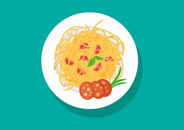 Bord spaghetti met tomaten en worst pastagerechten
