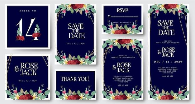 Bordeaux blozen aquarel bloemen bruiloft uitnodigingskaart