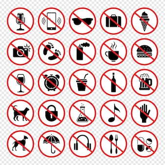 Borden verbieden. verboden eten wapens dieren mobiele telefoons eten kind geen vector tekenen collectie. illustratie verboden en gevaar, cameraverbod