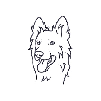 Border collie-hond - vectorembleem / pictogramillustratiemascotte
