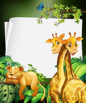 Border deisgn met giraffen en leeuwen in het bos