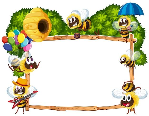 Border template met bijen vliegen