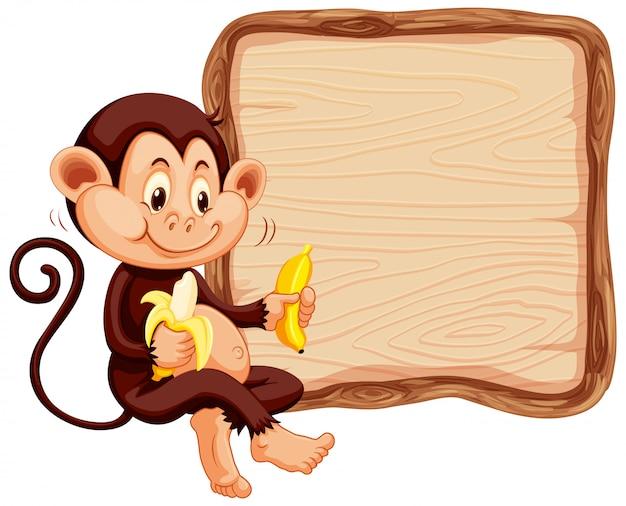 Bordsjabloon met schattige aap op witte achtergrond
