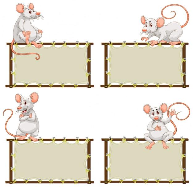 Bordsjabloon met schattige muis op witte achtergrond