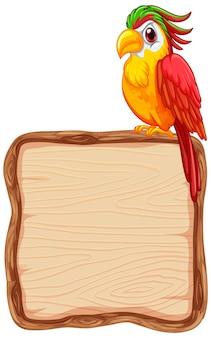 Bordsjabloon met schattige papegaai op witte achtergrond