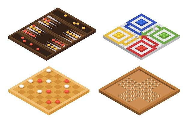 Bordspel pack isometrisch ontwerp