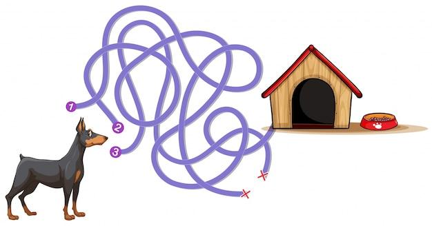 Bordspel sjabloon met hond vinden thuis