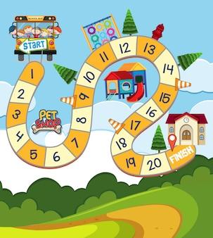 Bordspel sjabloon met kinderen in schoolbus