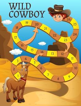 Bordspel sjabloon met paard in de woestijn