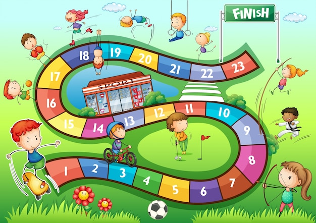 Bordspel sjabloon met sport thema illustratie