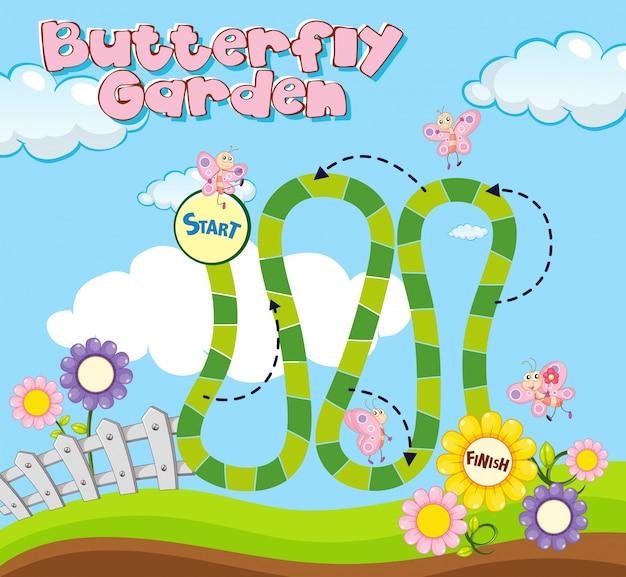 Bordspel sjabloon met vlinders in de tuin