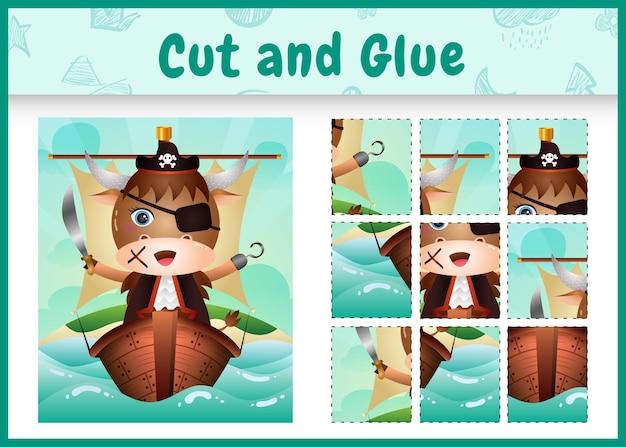Bordspel voor kinderen geknipt en gelijmd als thema pasen met een schattig piratenbuffelkarakter op het schip