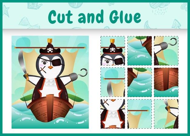 Bordspel voor kinderen geknipt en gelijmd als thema pasen met een schattig piratenpinguïn-personage op het schip