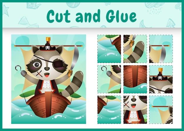 Bordspel voor kinderen geknipt en gelijmd als thema pasen met een schattig piratenwasbeer-personage op het schip