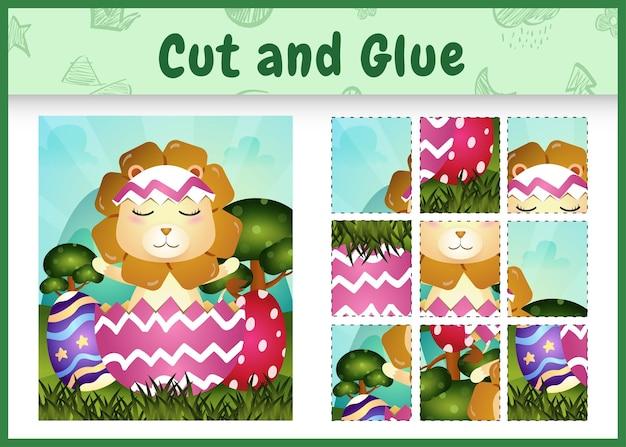 Bordspel voor kinderen geknipt en gelijmd als thema pasen met een schattige leeuw in het ei