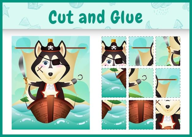 Bordspel voor kinderen geknipt en gelijmd als thema pasen met een schattige piraten husky hond op het schip
