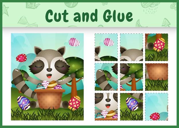 Bordspel voor kinderen geknipt en gelijmd als thema pasen met een schattige wasbeer in het emmer-ei