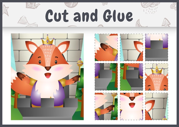 Bordspel voor kinderen geknipt en gelijmd met een schattig koningsvos-personage