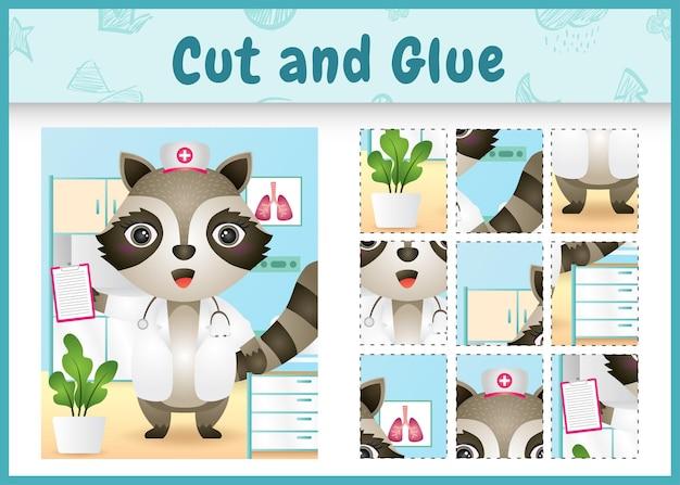 Bordspel voor kinderen geknipt en gelijmd met een schattige wasbeer met behulp van kostuumverpleegsters