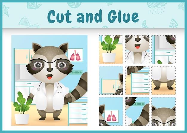 Bordspel voor kinderen geknipt en gelijmd met het karakter van een schattig wasbeerarts
