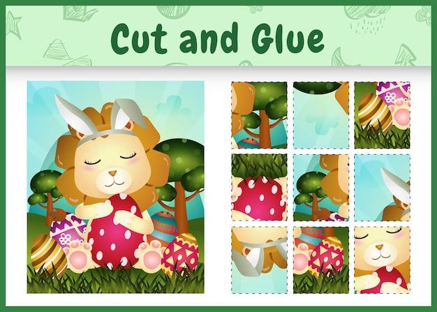 Bordspel voor kinderen geknipt en gelijmd thema pasen met een schattige leeuw met behulp van konijnenoren hoofdbanden knuffelen eieren
