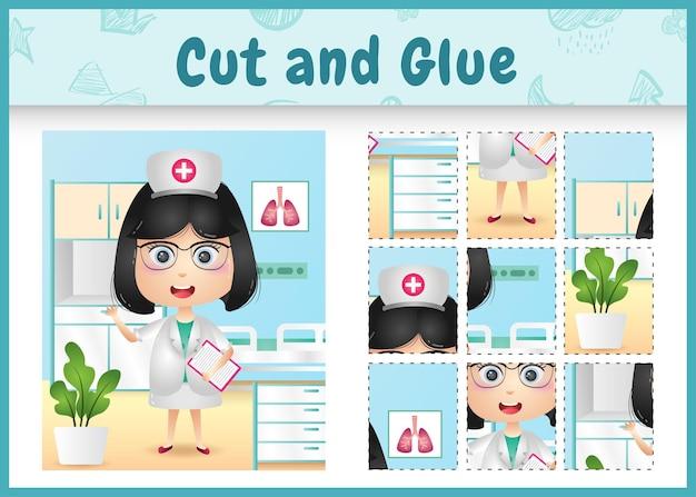 Bordspel voor kinderen gesneden en lijm met een schattig meisje verpleegsters