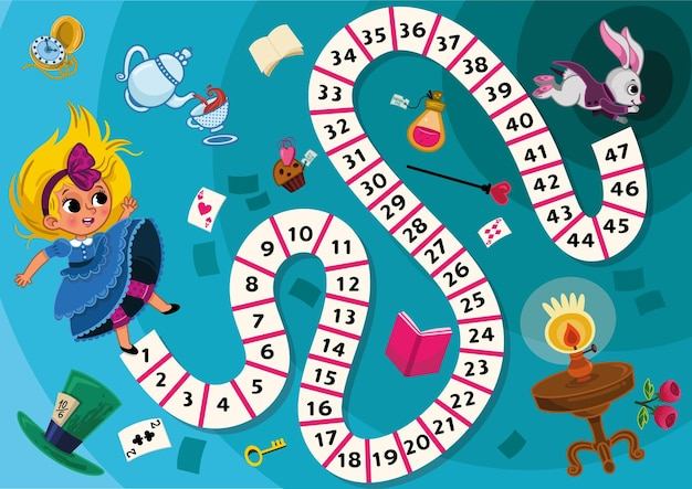 Bordspel voor kinderen in alice in wonderland thema