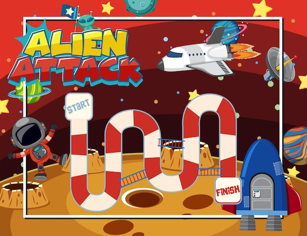 Bordspel voor kinderen in stijlsjabloon in de ruimte