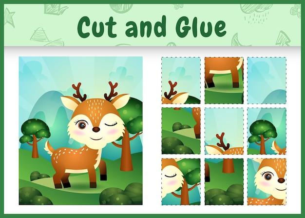 Bordspel voor kinderen knippen en lijmen met een schattig hert