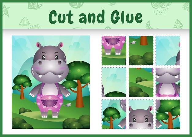 Bordspel voor kinderen knippen en lijmen met een schattig nijlpaard met een broek