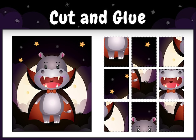 Bordspel voor kinderen knippen en lijmen met een schattig nijlpaard met een halloween dracula-kostuum
