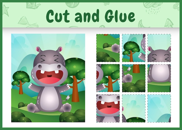 Bordspel voor kinderen knippen en lijmen met een schattig nijlpaard