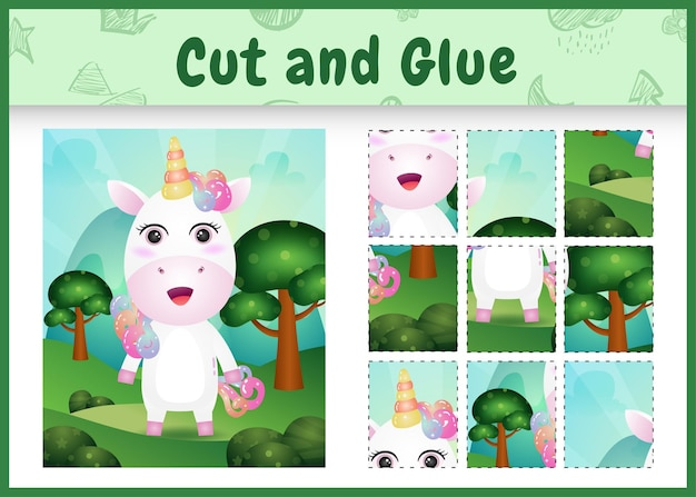 Bordspel voor kinderen knippen en lijmen met een schattige eenhoorn