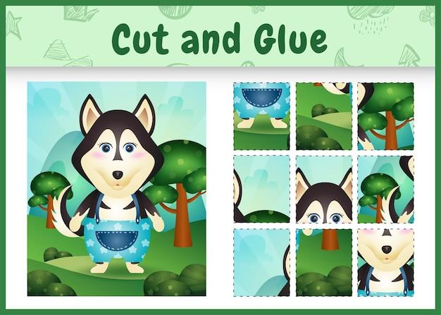 Bordspel voor kinderen knippen en lijmen met een schattige husky hond met broek
