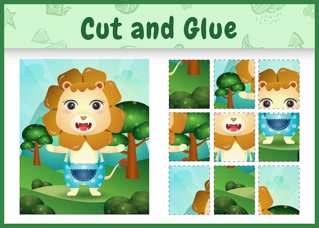 Bordspel voor kinderen knippen en lijmen met een schattige leeuw met een broek