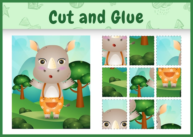 Bordspel voor kinderen knippen en lijmen met een schattige neushoorn met broek