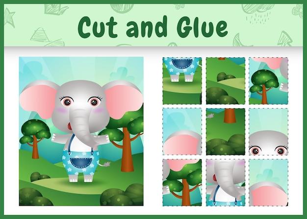 Bordspel voor kinderen knippen en lijmen met een schattige olifant met broek