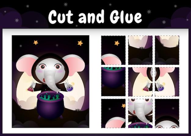 Bordspel voor kinderen knippen en lijmen met een schattige olifant met halloween-kostuum
