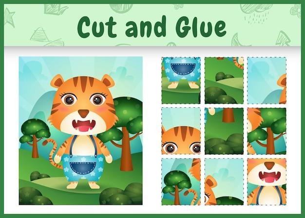 Bordspel voor kinderen knippen en lijmen met een schattige tijger met broek