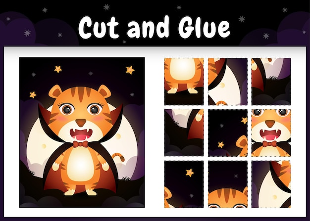Bordspel voor kinderen knippen en lijmen met een schattige tijger met halloween dracula-kostuum