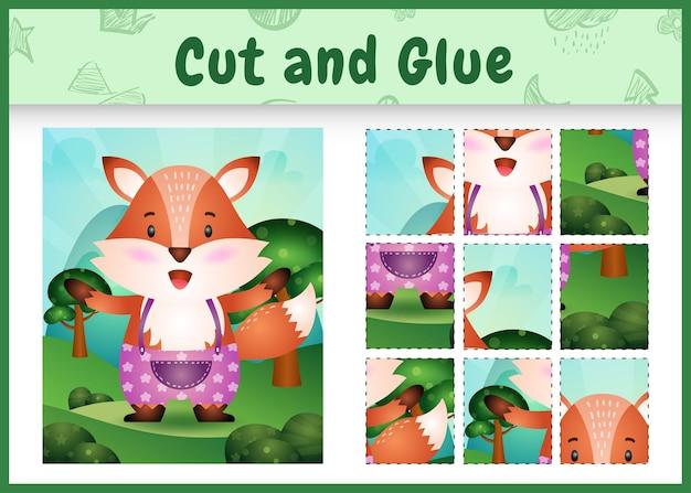 Bordspel voor kinderen knippen en lijmen met een schattige vos met een broek
