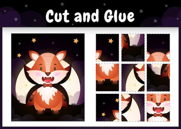 Bordspel voor kinderen knippen en lijmen met een schattige vos met halloween dracula-kostuum